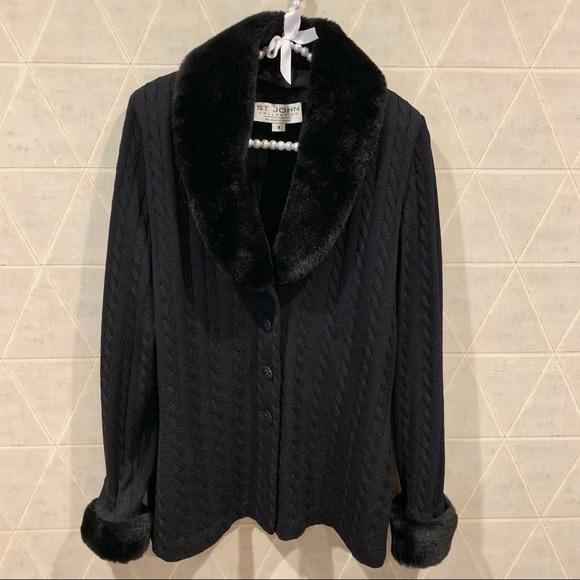 St. John Sweaters - St. John cable knit faux fur sweater cardigan 4